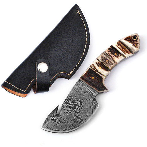 Legacy Damascus Steel Full Tang Stag Handle Gut Hook Outdoor Knife