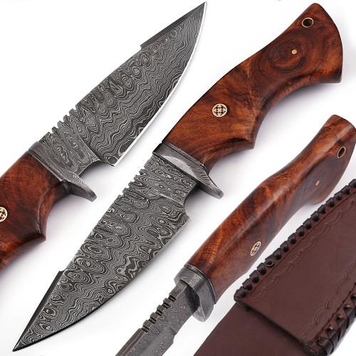 Journeyman Damascus Steel Walnut Wood Handle Fixed Blade Outdoor Knife