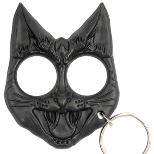 Self Defense Evil Cat Keychain Black