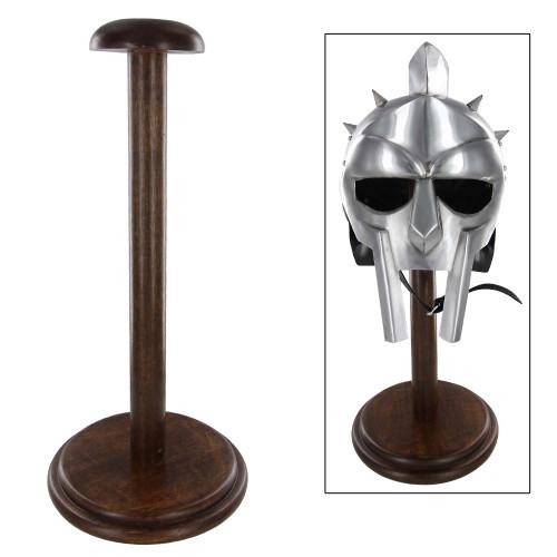 Round Base Wooden Helmet Stand