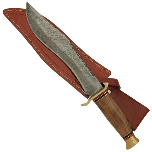 African Sapele Damascus Hunting Knife with Sienna Sheath