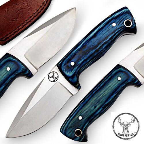 Hunt For Life™ Blue Grain Legacy Stainless Steel Full Tang Skinner Knife