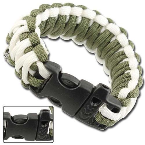 Skullz Survival Whistle Paracord Bracelet-Olive Drab & White
