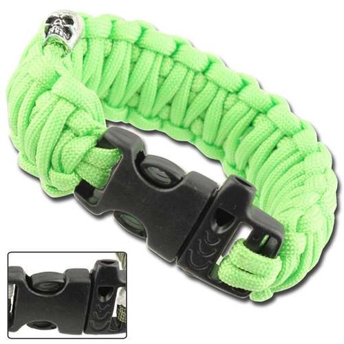 Skullz Survival Whistle 17.06 FT Paracord Bracelet-Neon Green