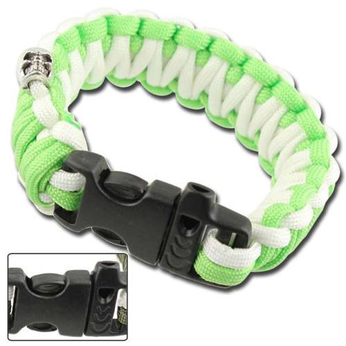 Skullz Survival Whistle Paracord Bracelet-Neon Green White