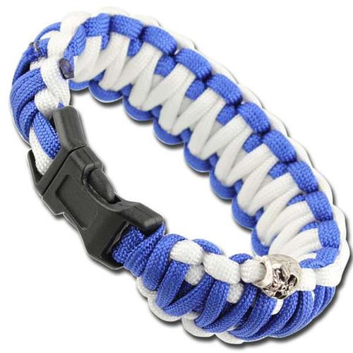 Skullz Survival Military Paracord Bracelet-Blue & White