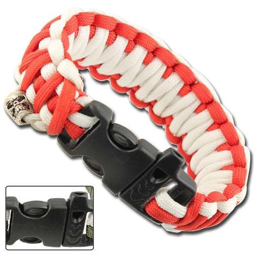Skullz Survival Whistle 17.06 FT Paracord Bracelet-Red & White