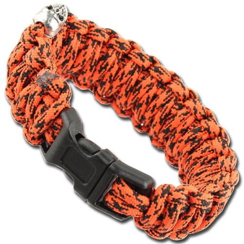 Skullz Survival Military Braided Paracord Bracelet - Atomic Red