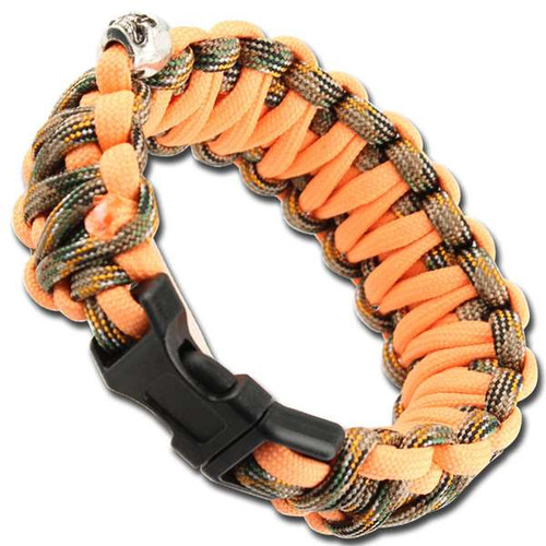 Skullz Whistle Paracord Bracelet-Orange Woodland Camo