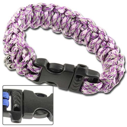 Skullz Survival Whistle 17.06 FT Paracord Bracelet-Purple Camo