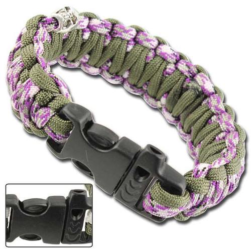 Skullz Survival Whistle Paracord Bracelet-OD Purple Camo