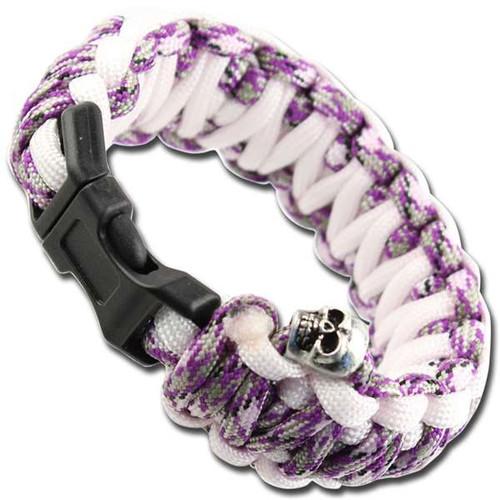 Skullz Survival Military Paracord Bracelet-Purple Camo & White