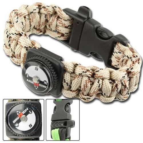 Survival Braid Whistle Compass Paracord - Desert Camo
