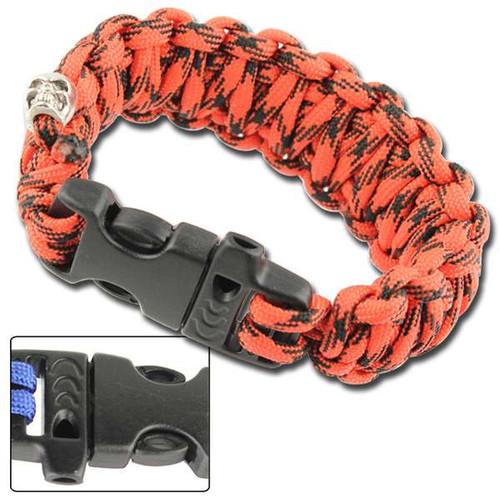 Skullz Survival Whistle 17.06 FT Paracord Bracelet-Digital Red