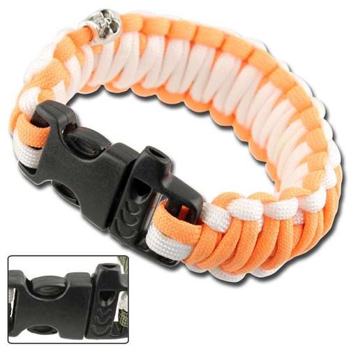 Skullz Survival Whistle Paracord Bracelet-Orange & White