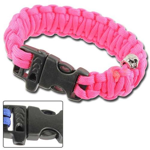 Skullz Survival Whistle 17.06 FT Paracord Bracelet-Neon Pink