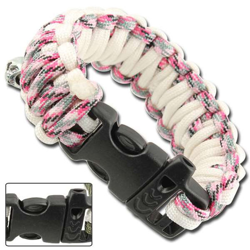 Skullz Survival Whistle Paracord Bracelet- Pink Camo & White