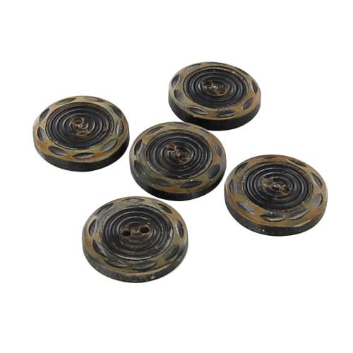 Set of Five Whirlwind Carved Horn Buttons