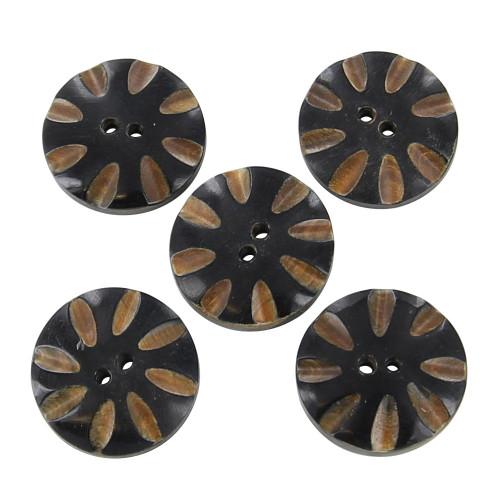 Handmade Horn Laugh Lines Custom Buttons