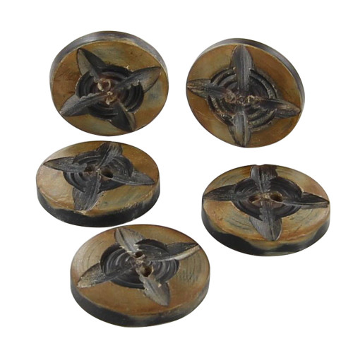 Horn Compass Rose Button Set