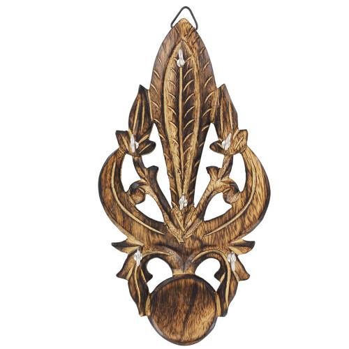 Antiqued Wooden Fleur De Lis Key Hanger