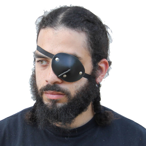 Leather Handmade Dark as Night Pirate Eye Patch