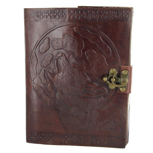 Howl at the Moon Leather Wolf Journal
