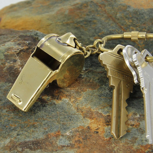 Functional Ruckus Brass Whistle Keychain