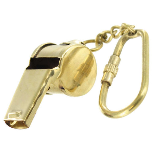 Functional Ruckus Brass Whistle Keychain