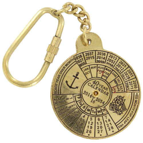 Nautical 40 Year Calendar Handmade Brass Keychain
