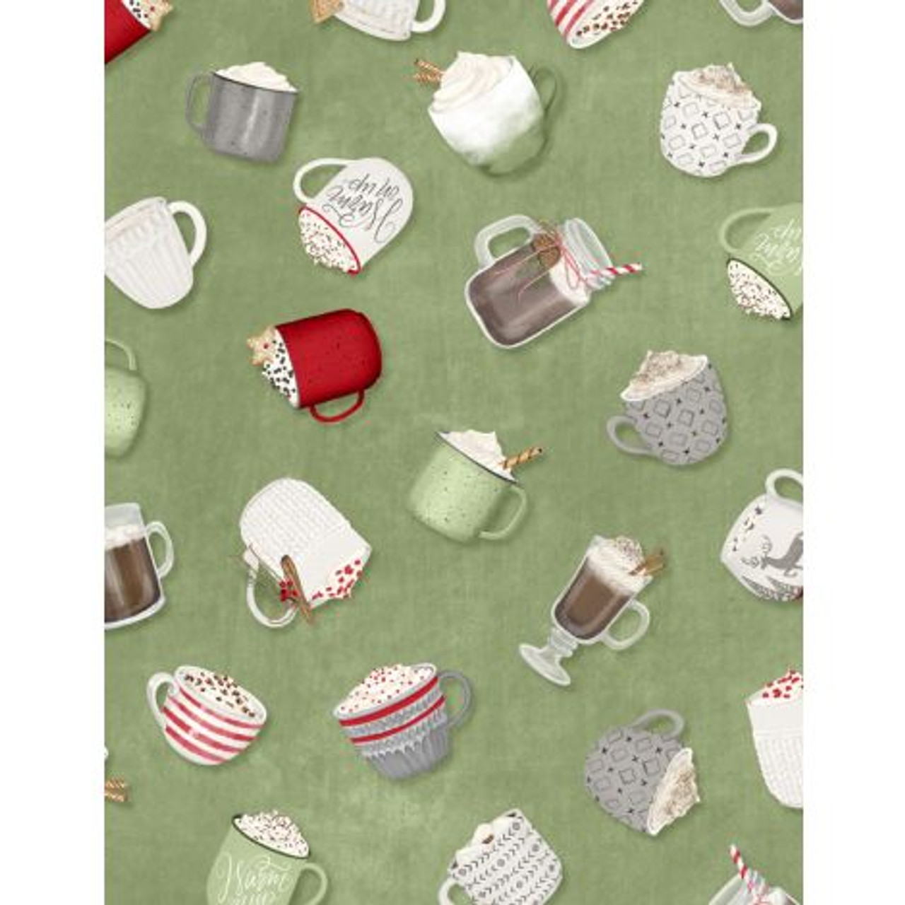Wilmington Prints Hot Cocoa Bar Tossed Cups Green Lancaster Home Fabric