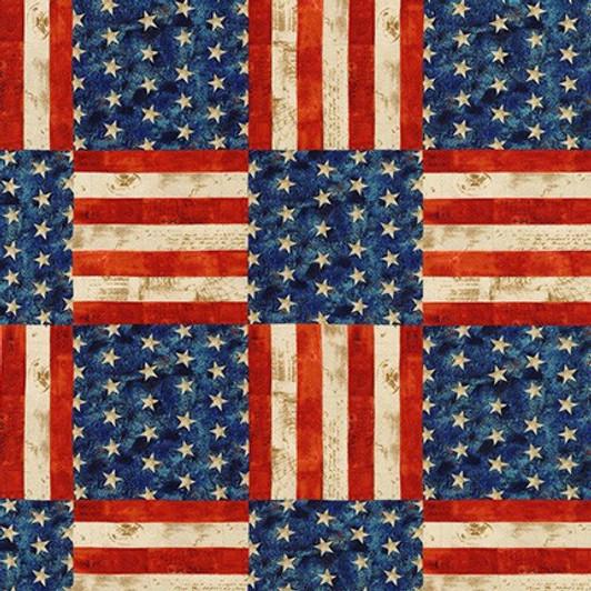 Robert Kaufman barn board truck flag American patriotic fabric Farmhouse country