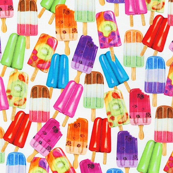 Robert Kaufman - Sweet Tooth - Large Popsicles, White