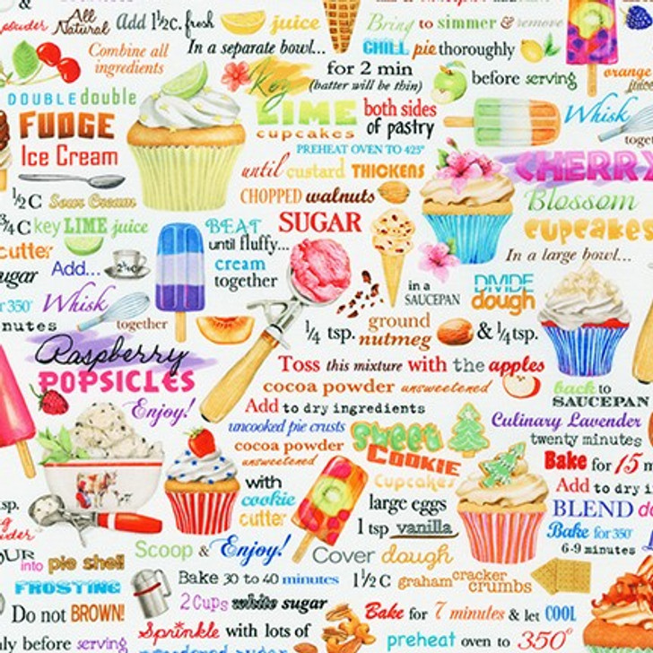 Robert Kaufman - Sweet Tooth - Sweets & Text, White