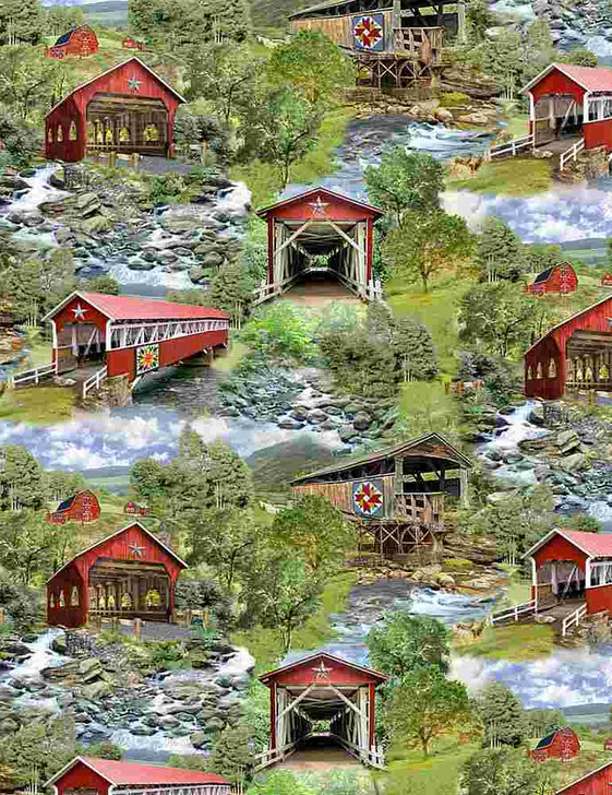 Timeless Treasures - Nature - Covered Bridge - All Over Red Covered Bridges