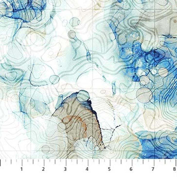 Northcott - Sail Away - Contour Map, White/Indigo