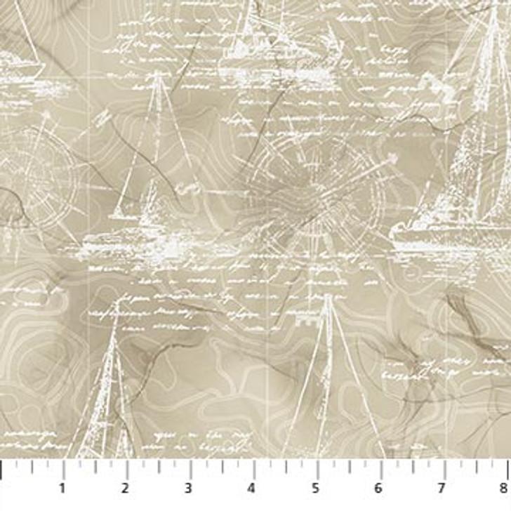 Northcott - Sail Away - Sail Boat Drawing, Beige