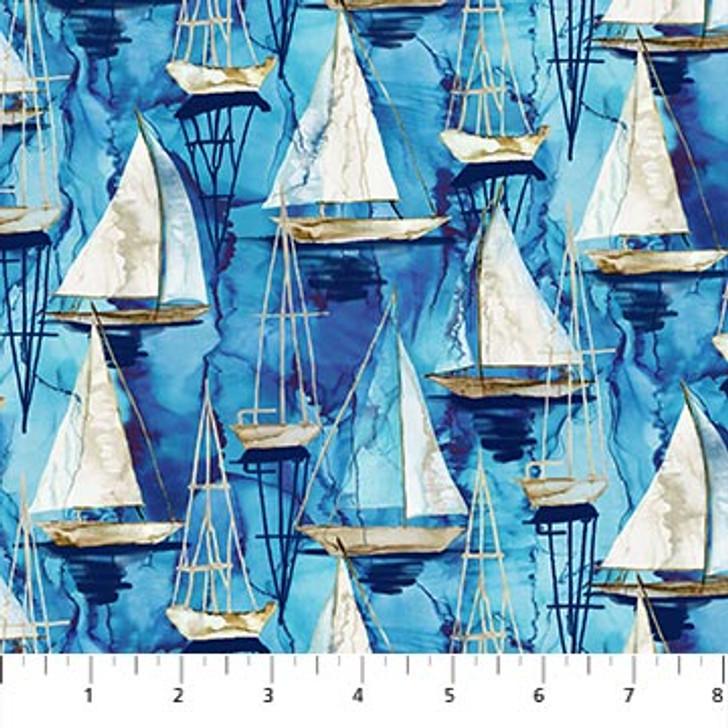 Northcott - Sail Away - Small Boats, Indigo