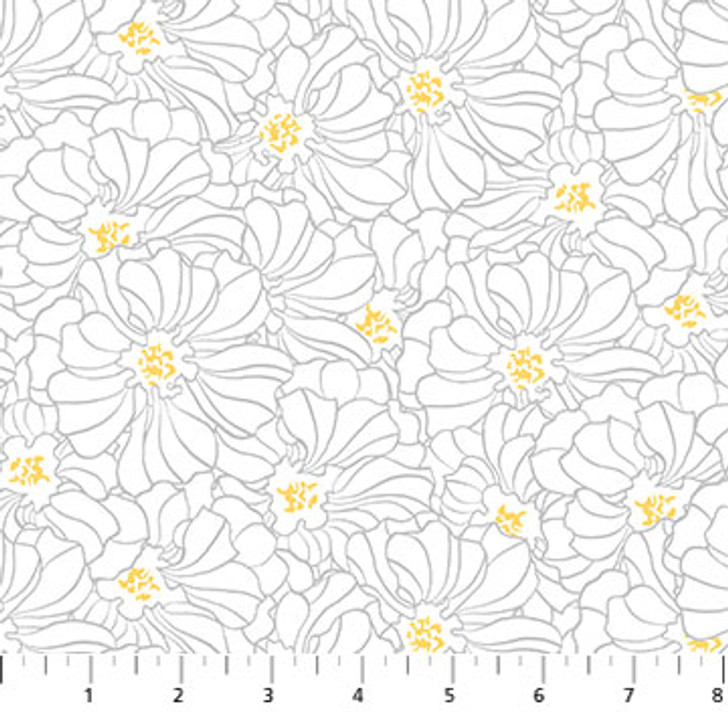 Northcott - Windsong - Floral Outline, White