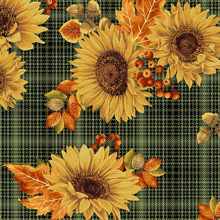 Benartex - Autumn Elegance - Sunflower Paid, Green