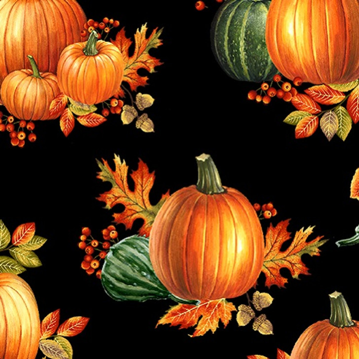 Benartex - Autumn Elegance - Pumpkin Allover, Black