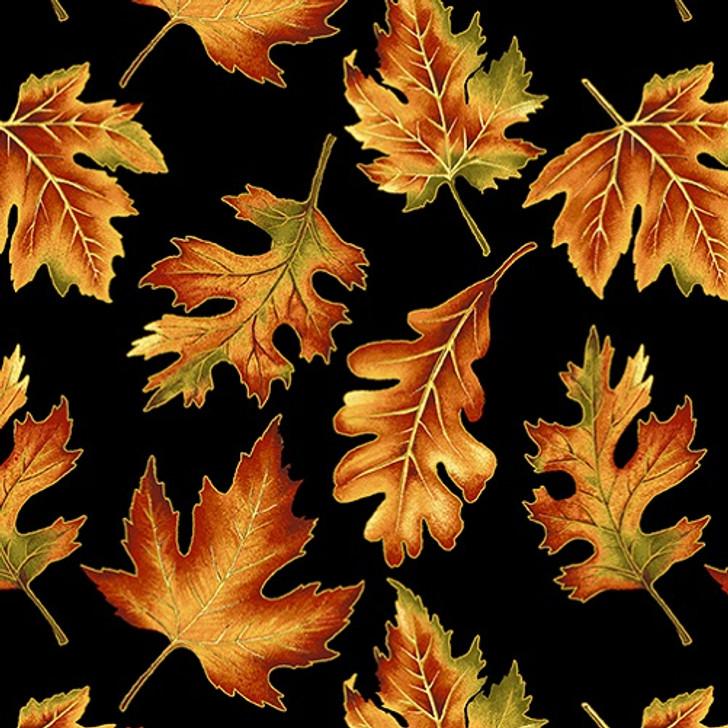 Benartex - Autumn Elegance - Leaf Allover, Black