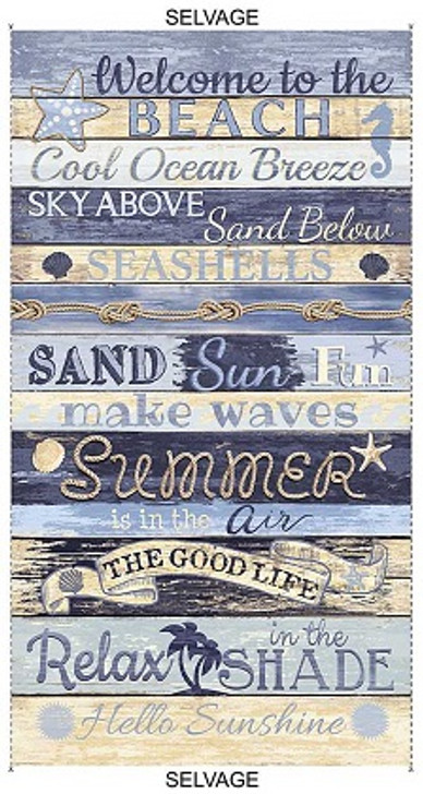 """Timeless Treasures - Beach - 24 """" Welcome to The Beach Panel, Multi"""