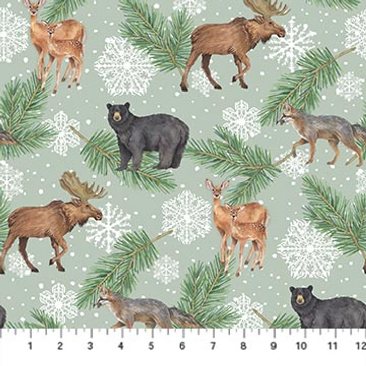 Northcott - Frosted Forest Flannel - Animal Allover, Sage
