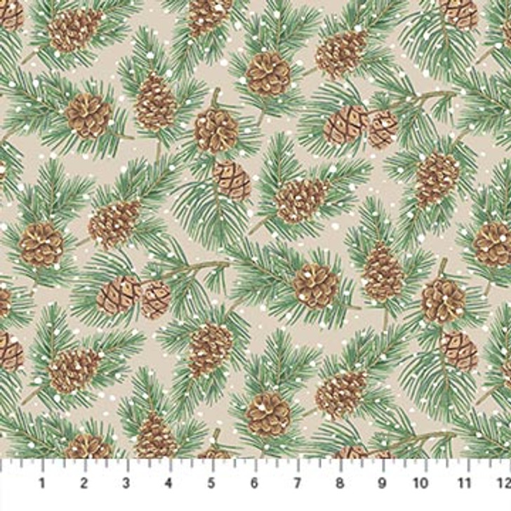 Northcott - Frosted Forest Flannel - Pinecones, Beige