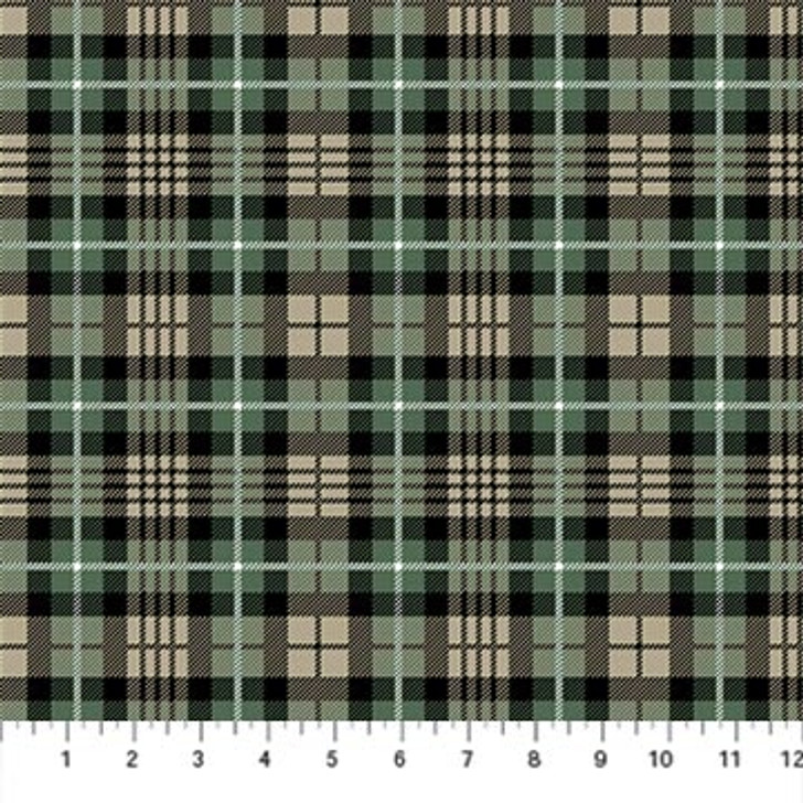 Northcott - Frosted Forest Flannel - Dark Plaid, Black