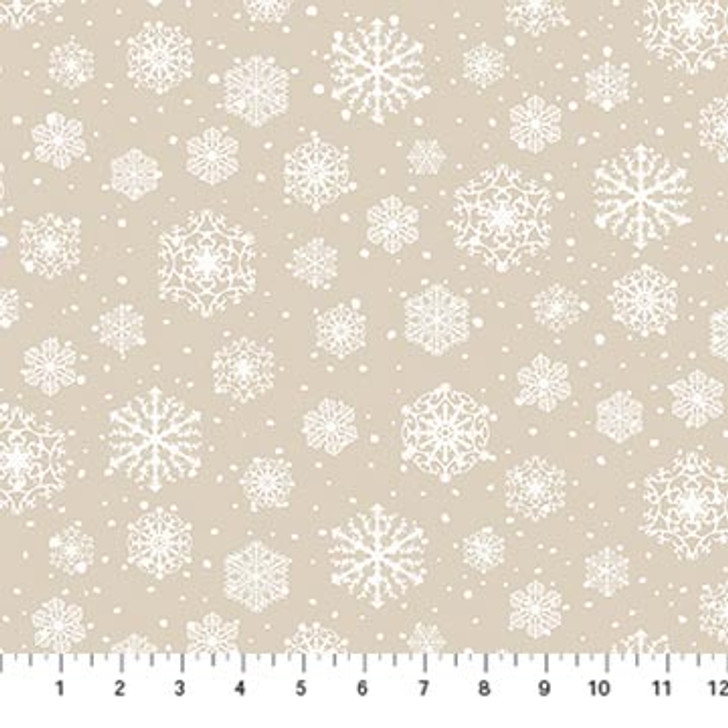 Northcott - Frosted Forest Flannel - Snowflakes, Beige