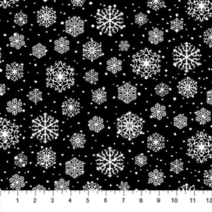 Northcott - Frosted Forest Flannel - Snowflakes, Black