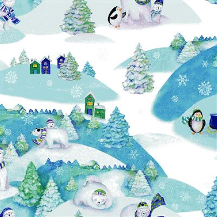 Clothworks - Snowville - Winter Toile, Lt Blue