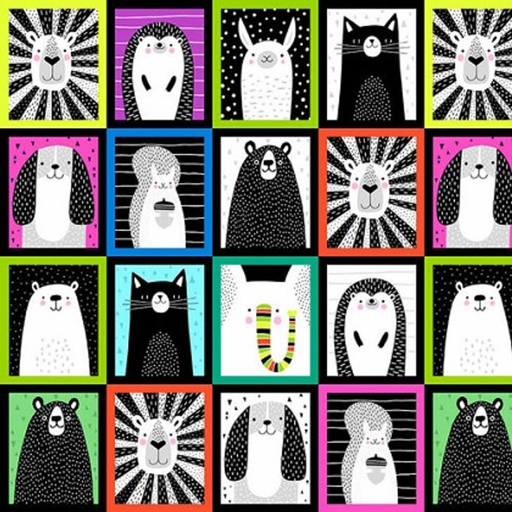 Studio E - Black & White w/Touch of Bright - Animal Patchwork, Multi
